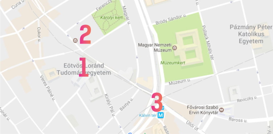 Map of Budapest for points 1 to 3